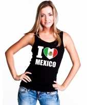 Zwart i love mexico fan singlet-shirt tanktop dames