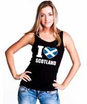 Zwart i love schotland fan singlet-shirt tanktop dames