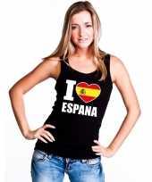Zwart i love spanje fan singlet-shirt tanktop dames