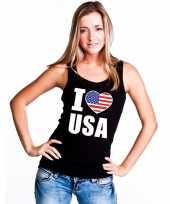 Zwart i love usa amerika fan singlet-shirt tanktop dames