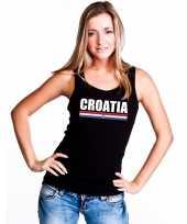 Zwart kroatie supporter singlet-shirt tanktop dames