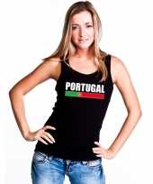 Zwart portugal supporter singlet-shirt tanktop dames