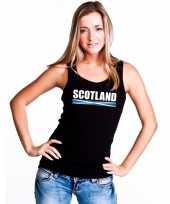 Zwart schotland supporter singlet-shirt tanktop dames