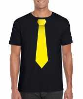 Zwart t-shirt gele stropdas heren
