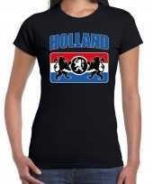 Zwart t-shirt holland nederland supporter holland een nederlands wapen ek wk dames