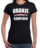Zwart t-shirt holland nederland supporter zwart kampioen ek wk dames