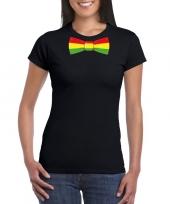 Zwart t-shirt limburgse vlag strik dames