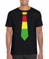 Zwart t-shirt limburgse vlag stropdas heren