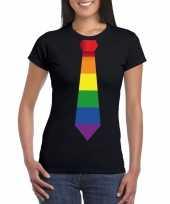 Zwart t-shirt regenboog vlag stropdas dames