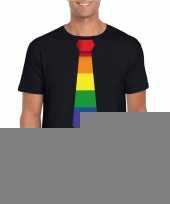 Zwart t-shirt regenboog vlag stropdas heren