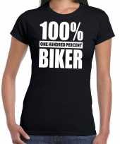 Zwart tekst t-shirt 100 procent biker dames