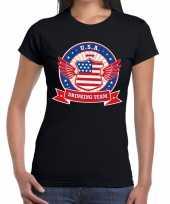 Zwart usa drinking team t-shirt dames