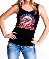 Zwart usa drinking team tanktop mouwloos shirt dames