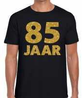 Zwart vijfentachtig jaar verjaardag shirt heren gouden bedrukking