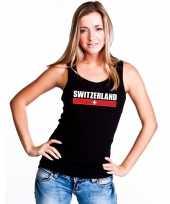 Zwart zwitserland supporter singlet-shirt tanktop dames