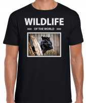 Zwarte panter t-shirt dieren foto wildlife of the world zwart heren