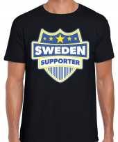 Zweden sweden schild supporter t-shirt zwart heren